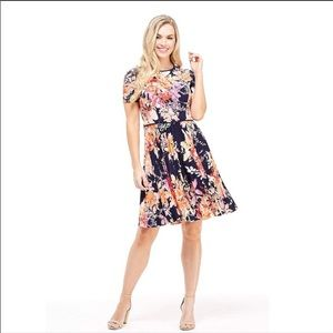 Maggy London Blue Floral Pleated Fit Flare…